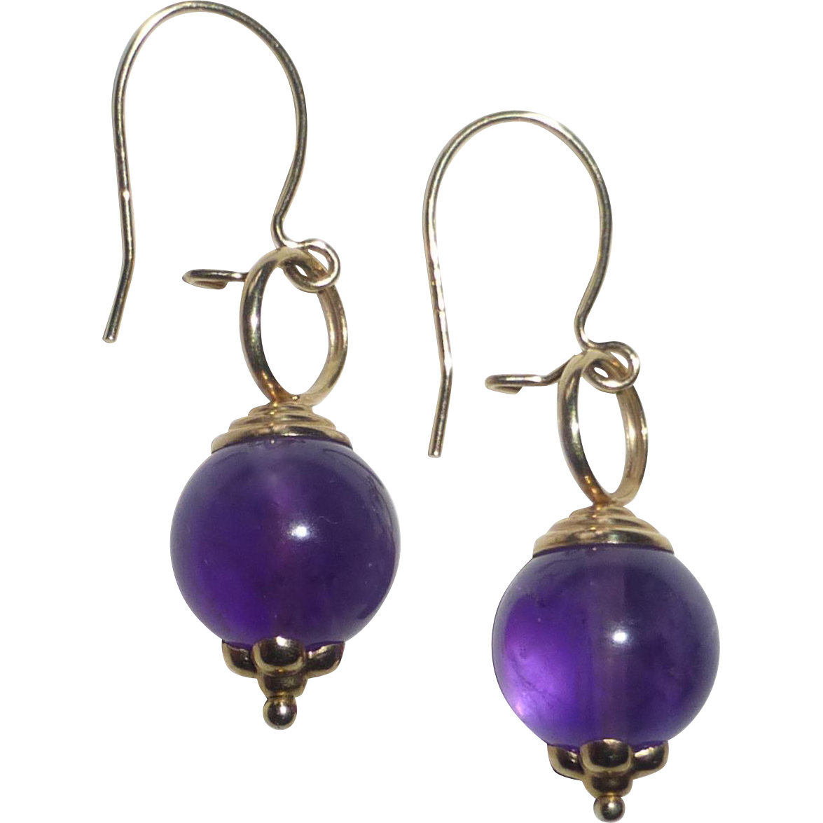14k yellow gold amethyst bead earrings from bejewelled on. Black Bedroom Furniture Sets. Home Design Ideas