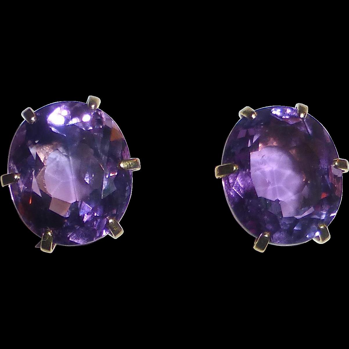 14k Large Faceted Amethyst Post Earrings
