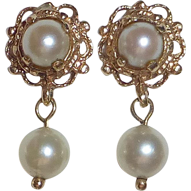14k Cultured Pearl Post Earrings w Pearl Drop