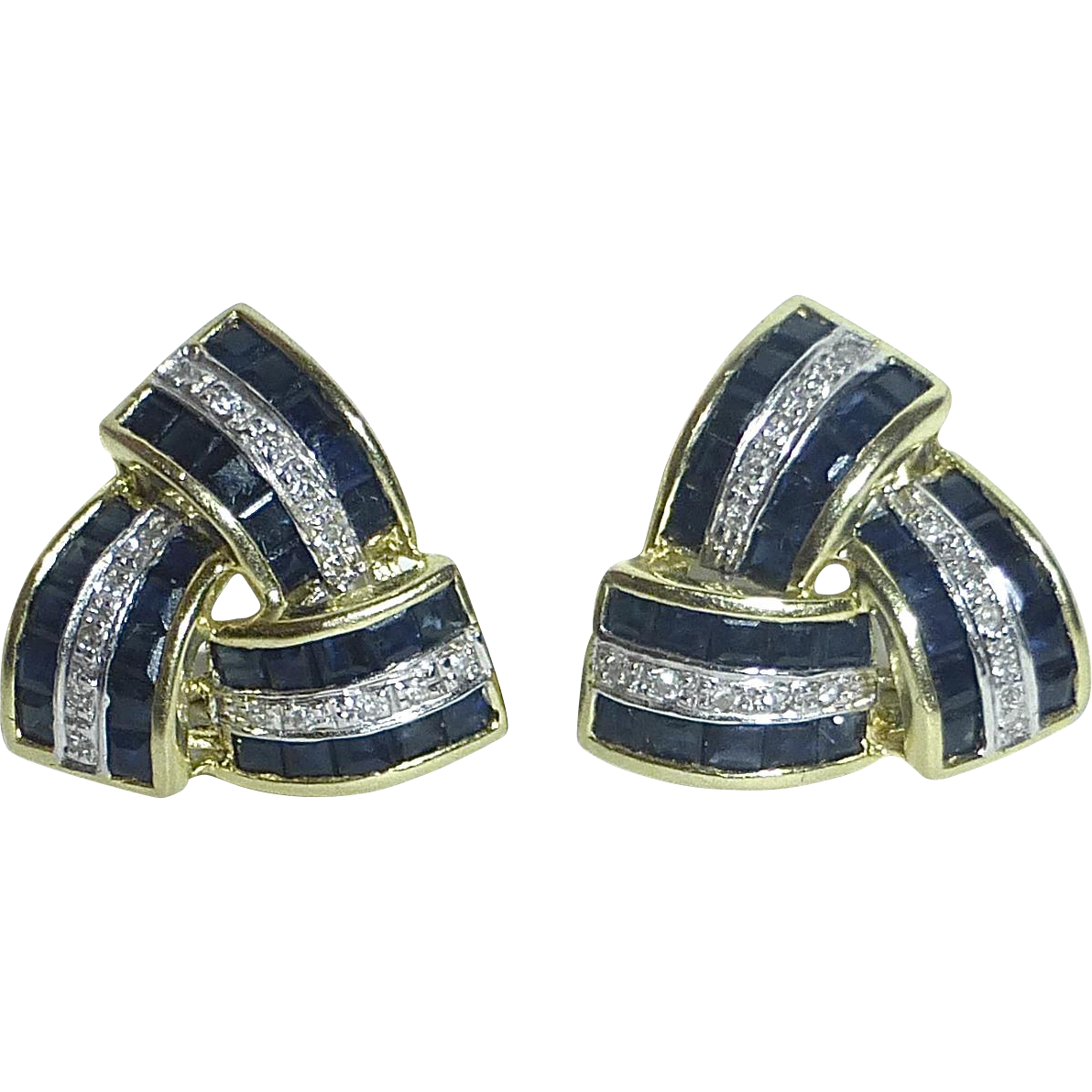 14k Diamond & Sapphire Pierced Omega Clip Earrings