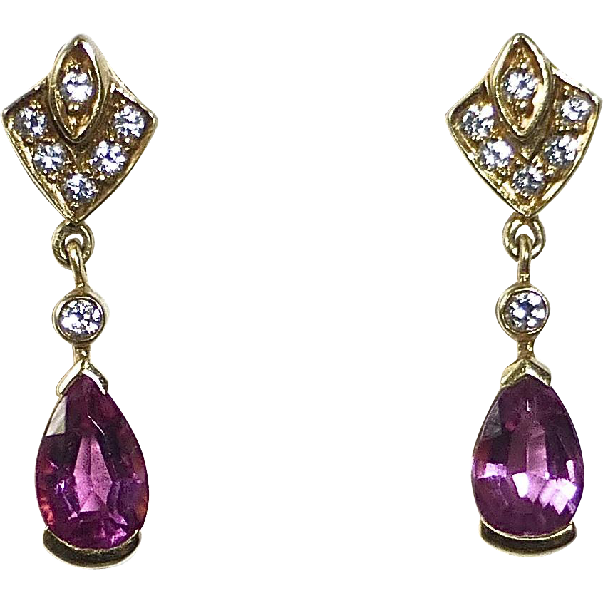 14k Tourmaline Teardrop Earrings w Diamonds