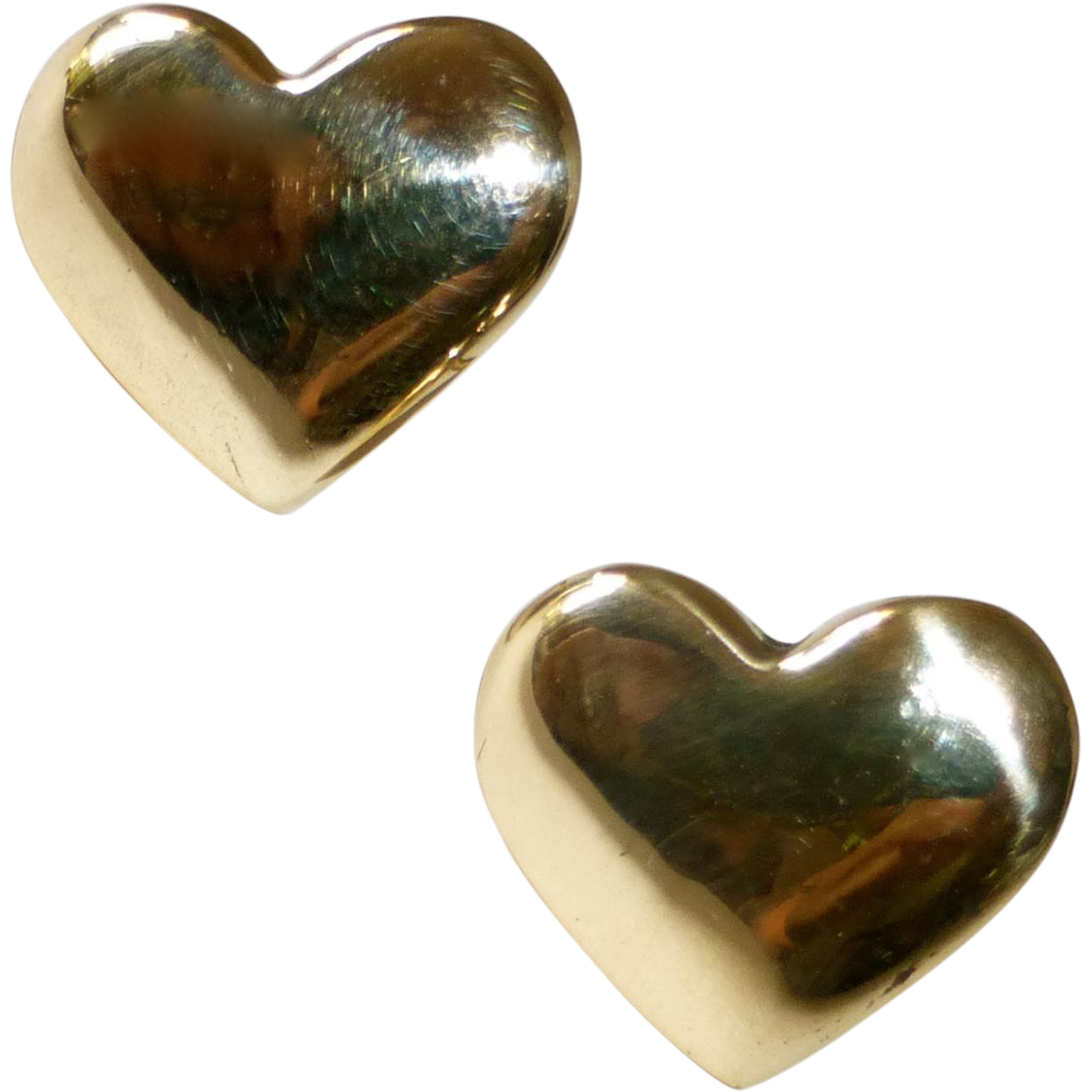 14k Yellow Gold Heart Post Earrings
