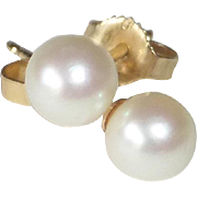 14k Single Cultured Pearl Post Pierced Earrings