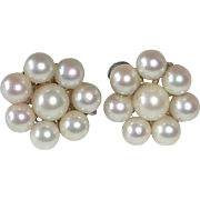 14k White Gold Cultured Pearl Rosette Earrings