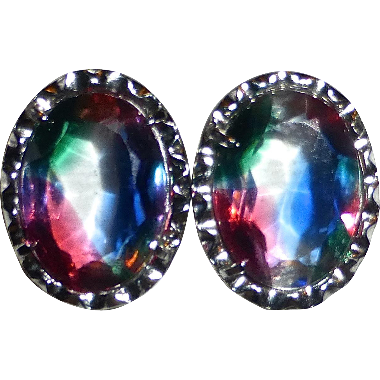 835 Silver Framed Iris Glass Clip Earrings