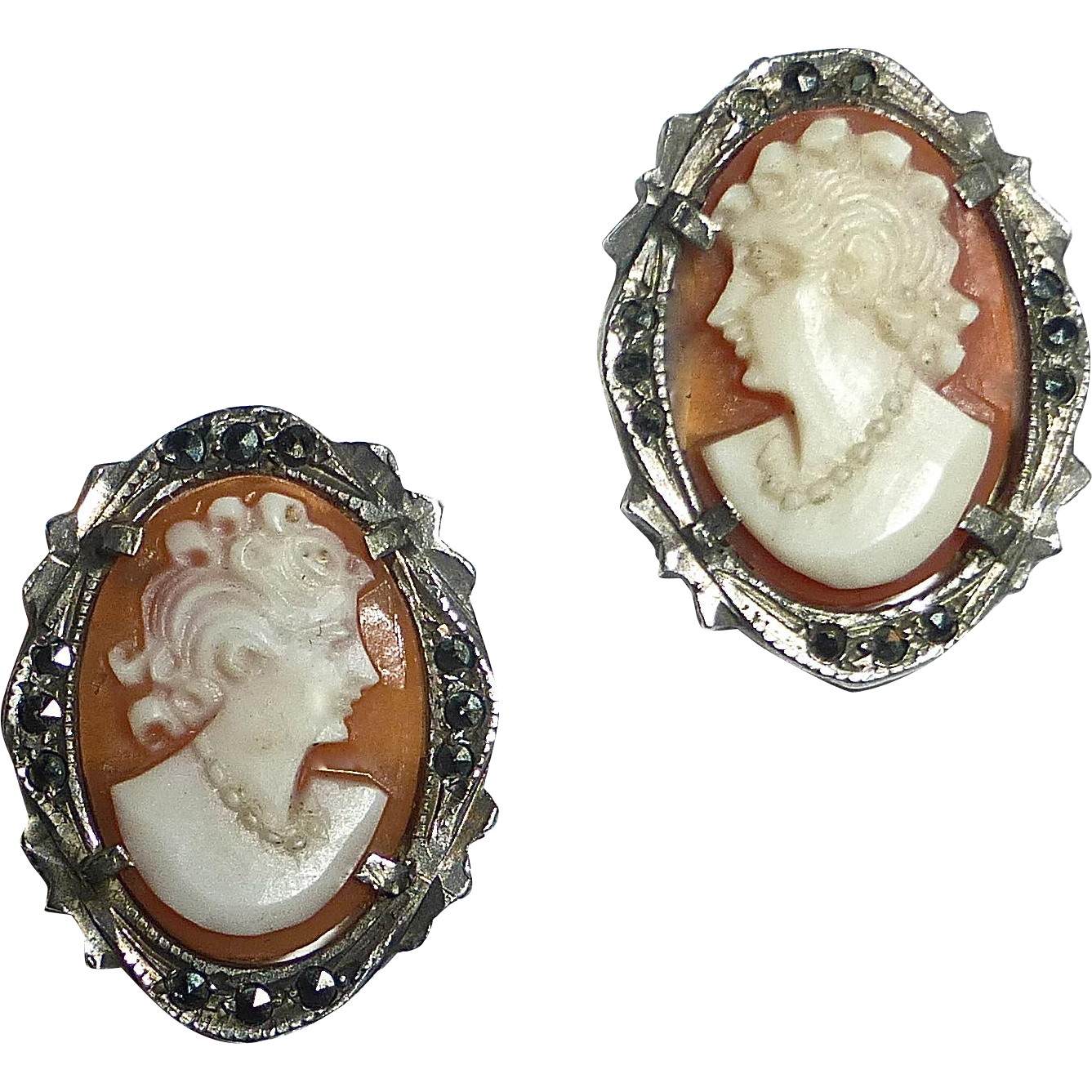 Cameo Earrings 900 Silver & Marcasites Setting Sterling Posts