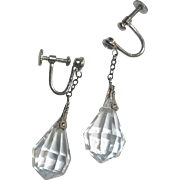 Art Deco Faceted Crystal Teardrop Czech Earrings
