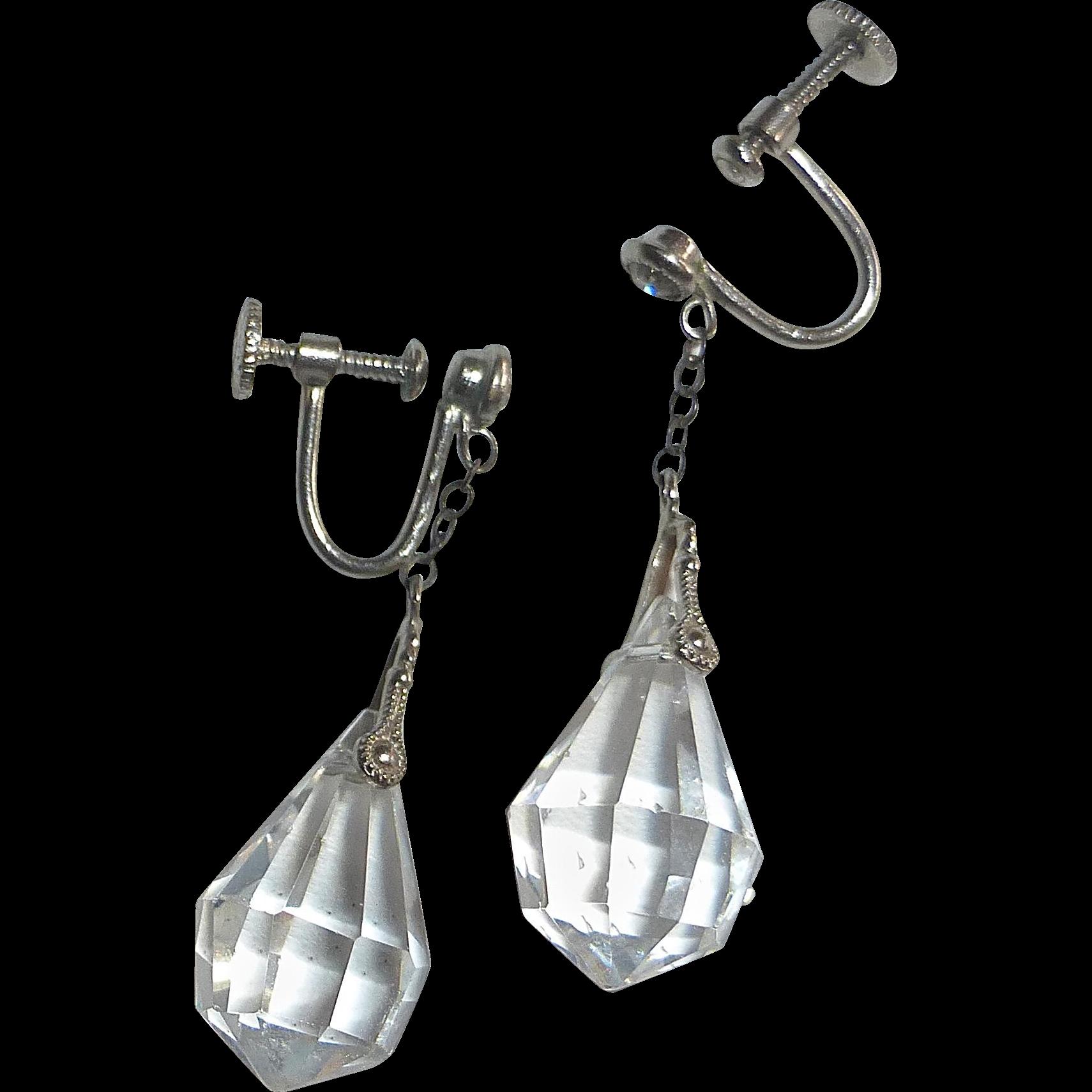 Art Deco Faceted Crystal Teardrop Czech Earrings