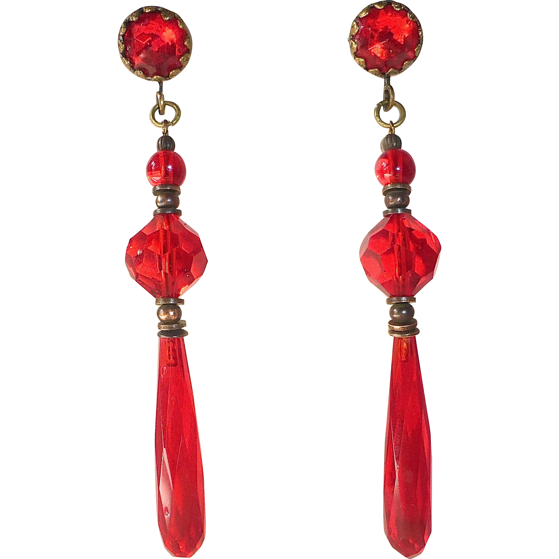 Art Deco Red Crystal Teardrop Drops Earrings