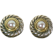 David Yurman 14k Sterling Cultured Pearl Post Earrings