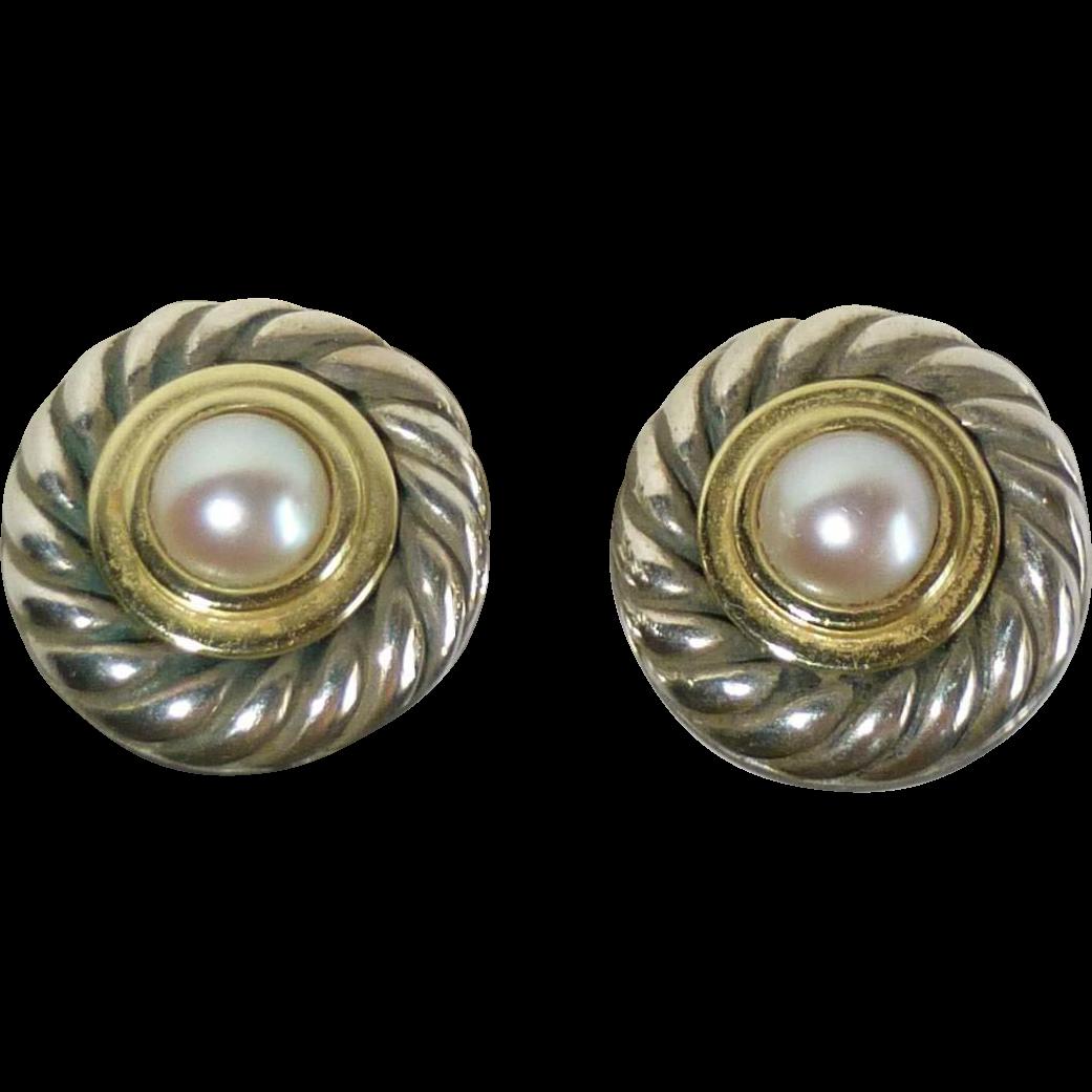 David Yurman 14k Sterling Cultured Pearl Post Earrings