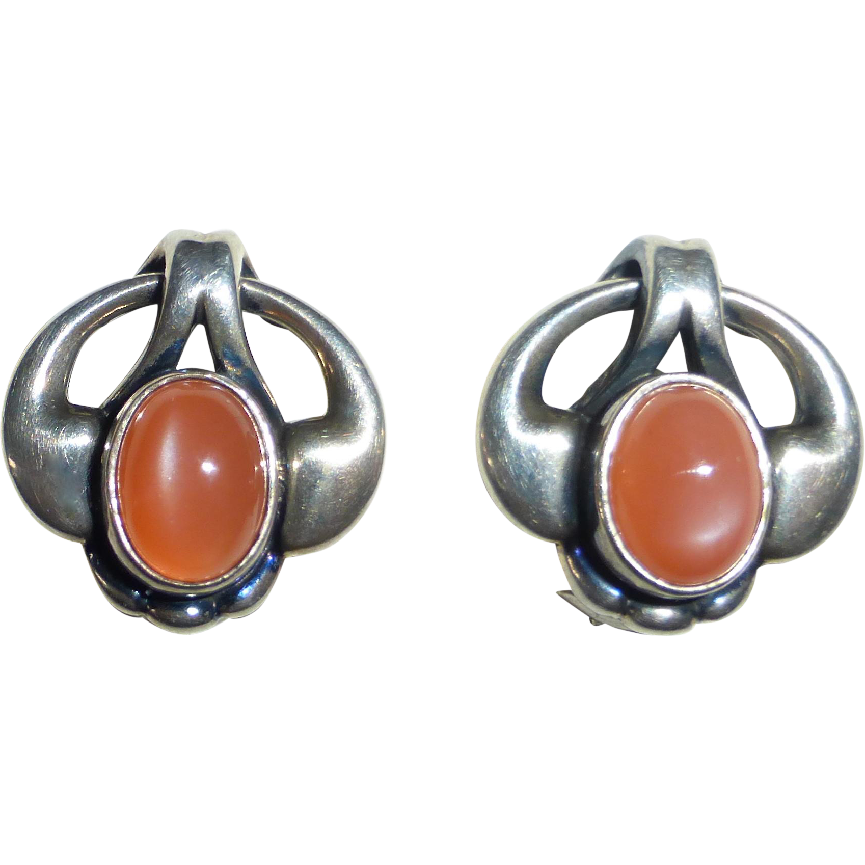 Georg Jensen Pink Moonstone Sterling Clip Earrings