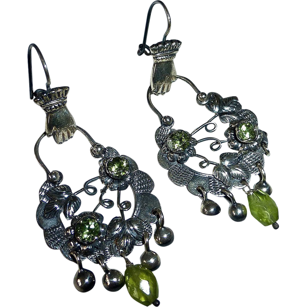 Mexican Sterling Pierced Drop Earrings Hands~Flowers~Peridot