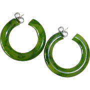 Green Marbled Bakelite Hoop Storestock Earrings