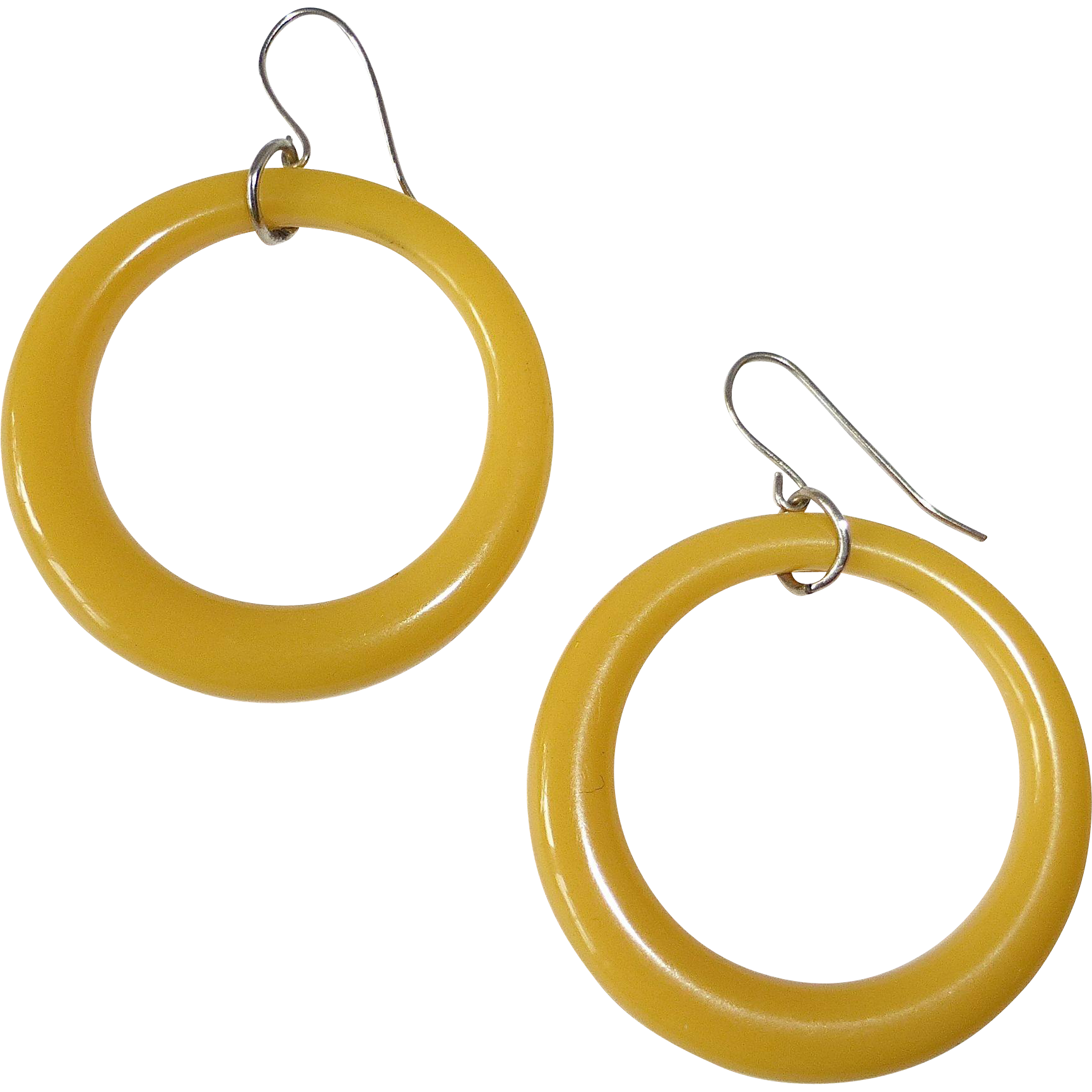 Celluloid Large Hoop Pierced Earrings