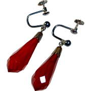Art Deco Faceted Amber Teardrop Earrings 800 Silver