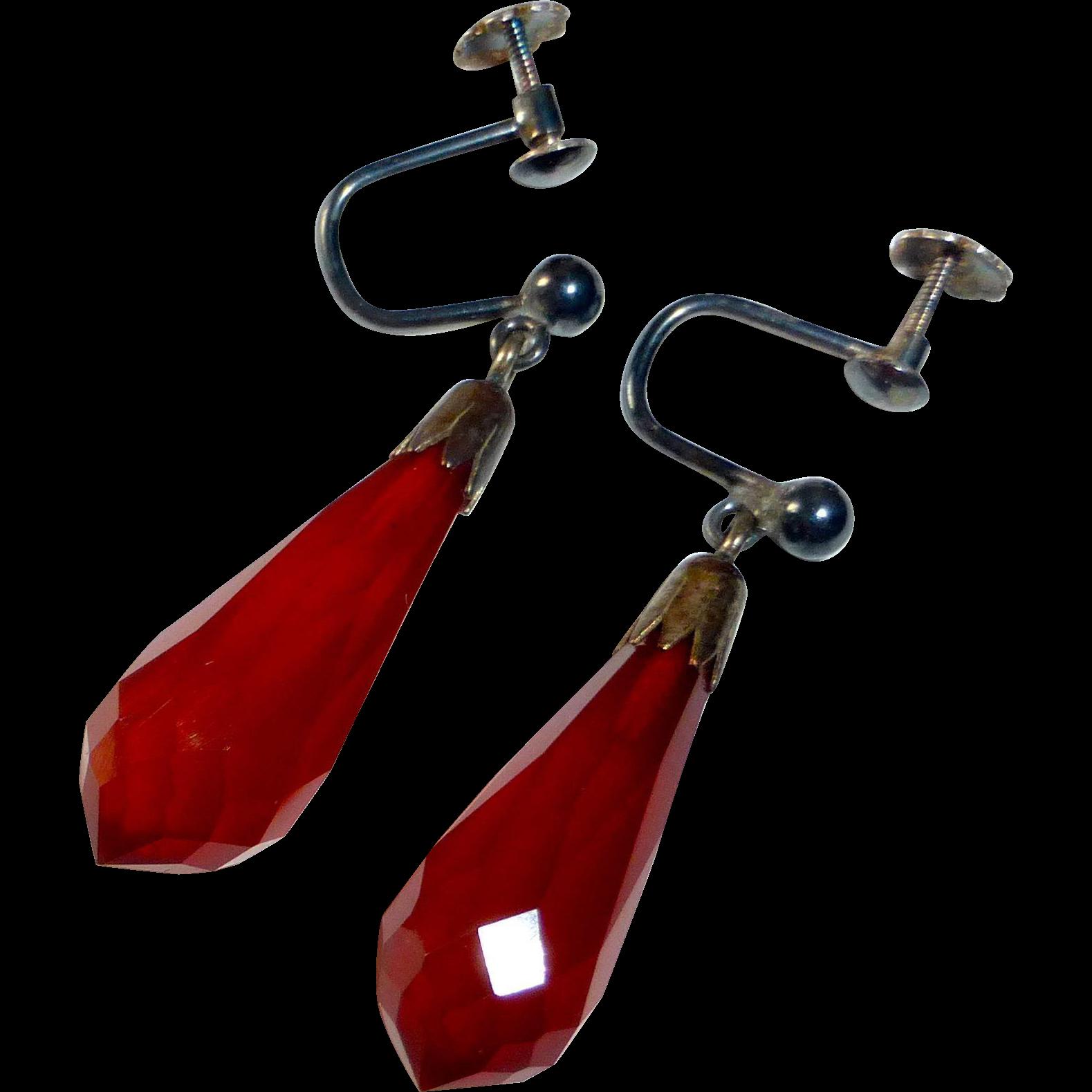 Art Deco Faceted Amber Teardrop Earrings 800 Silver