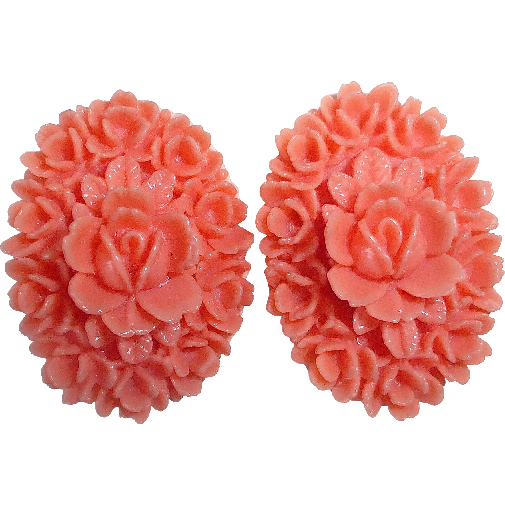 Faux Coral Molded Plastic Earrings