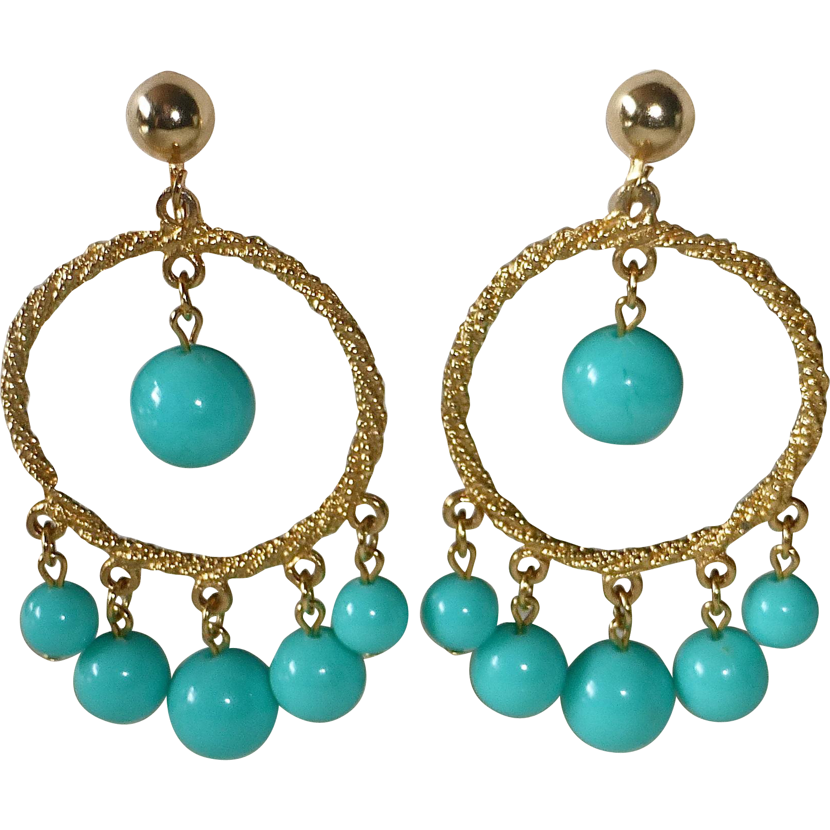 Funky Hoop Earrings Graduated Turquoise Plastic Beads