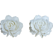 White Rose Molded Vintage Plastic Earrings