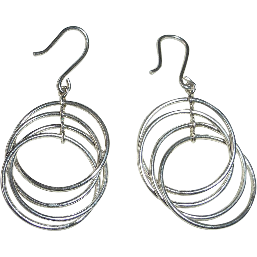 Sterling Silver Five Ring Dangle Pierced Earrings