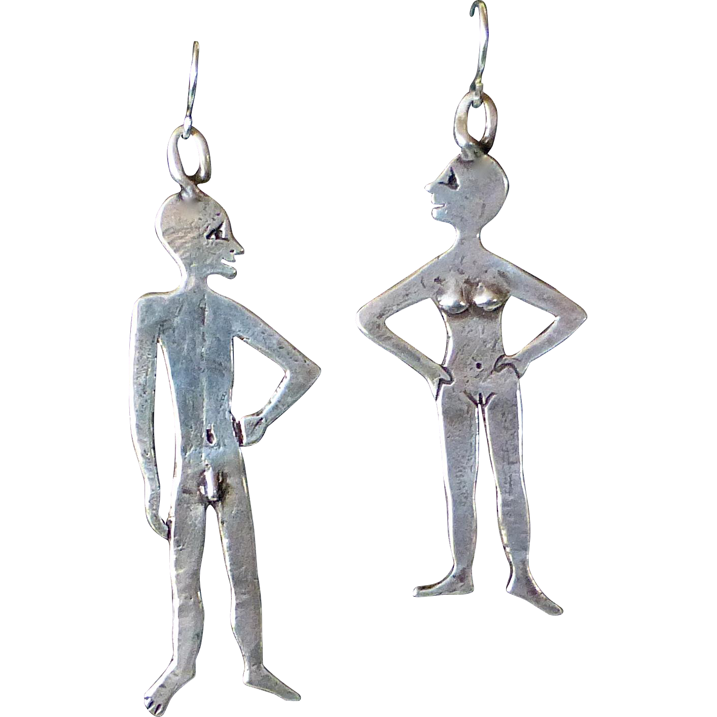 Sterling Adam & Eve Handcrafted Earrings