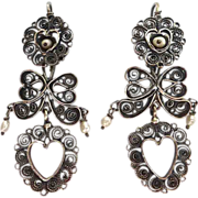 Mexican Sterling Filigree Heart~Bows~FW Pearl Earrings