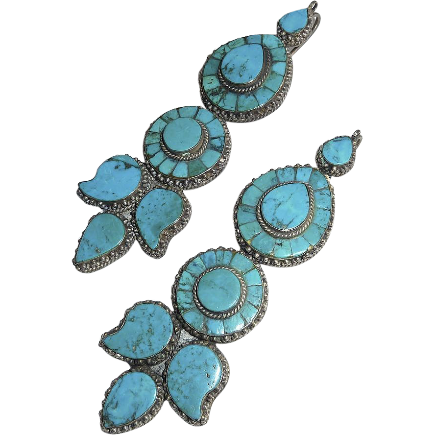 Antique Tibetan 900 Silver & Turquoise Earrings