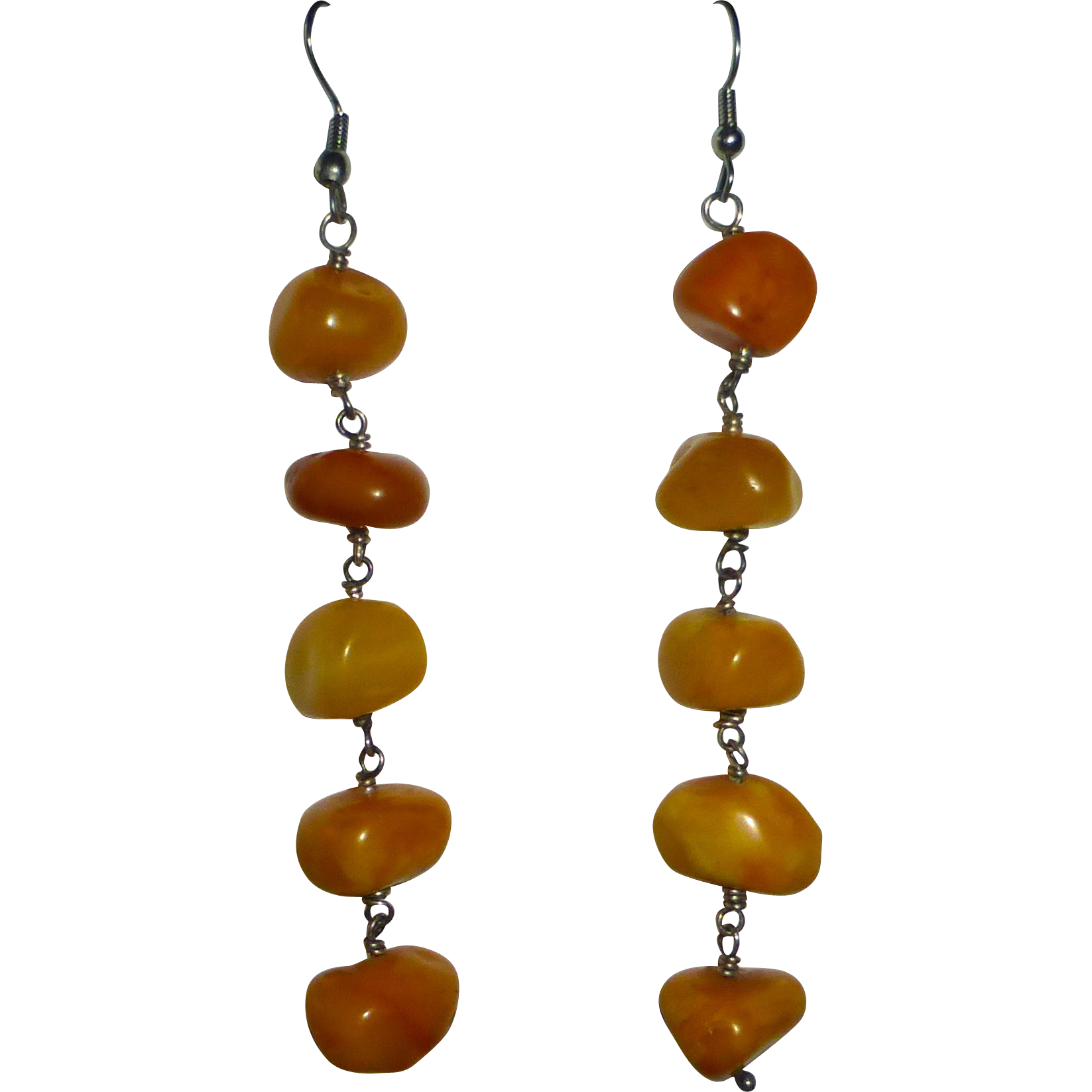 Sterling & Natural Amber Nugget Drop Earrings