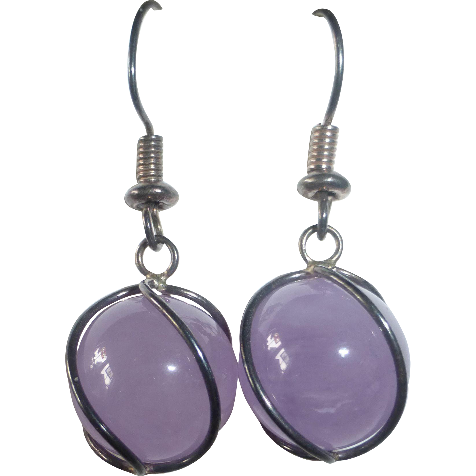 Sterling Earrings Caged Amethyst Spheres