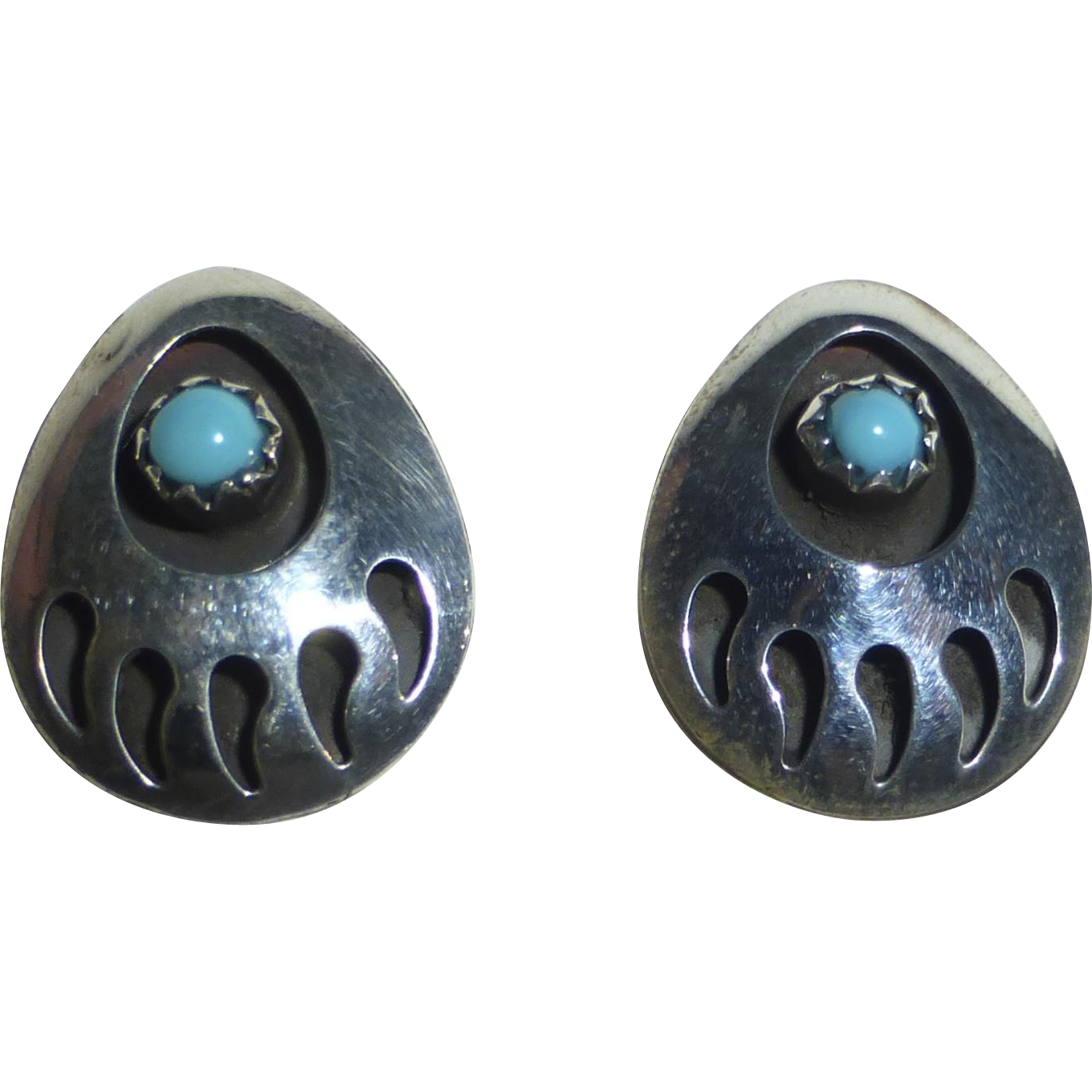 Vintage Sterling Bear Paw Post Earrings