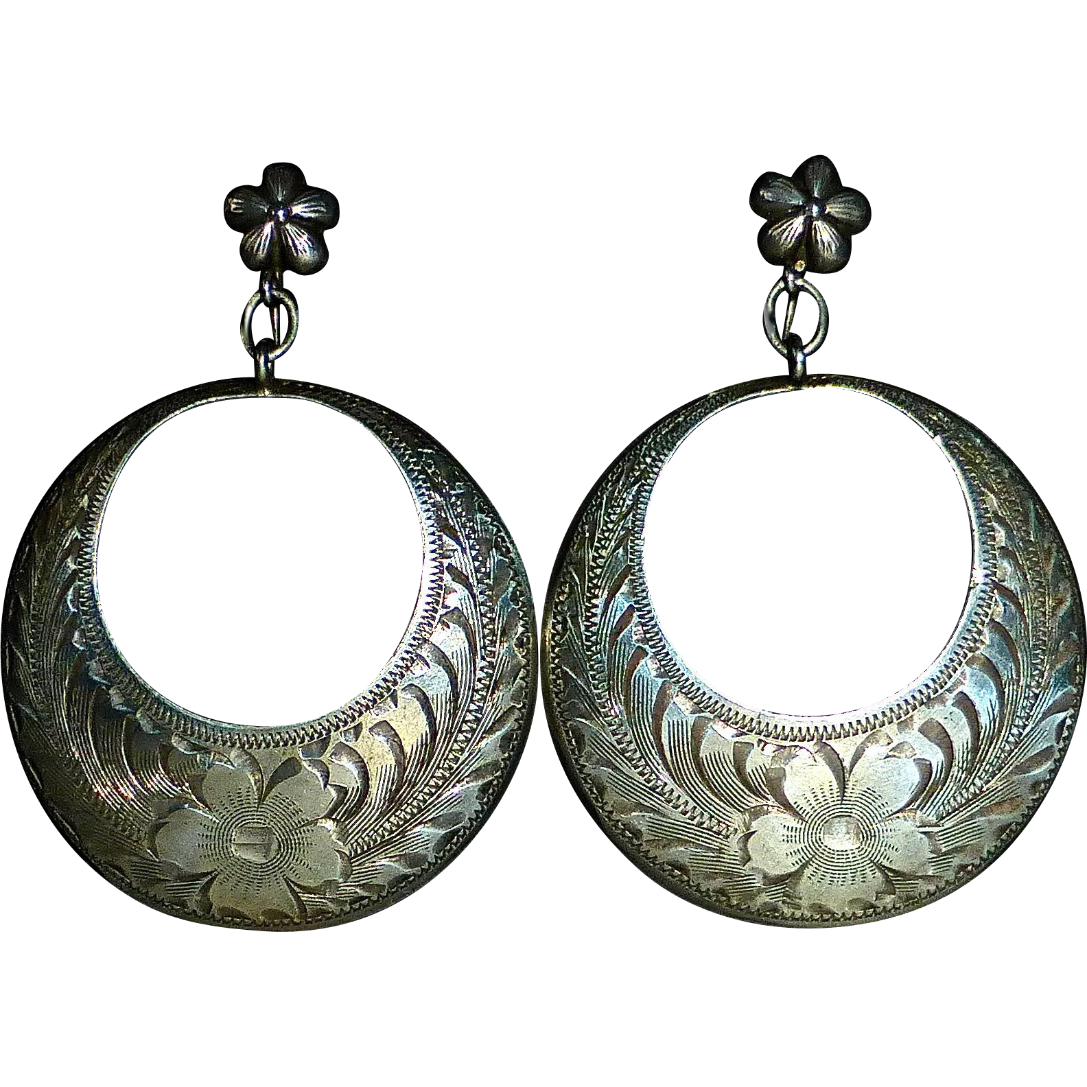 Engraved Sterling Hanging Dome Gypsy Hoop Earrings