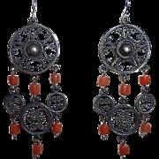 Ethnic Coral & Sterling Filigree Chandelier Earrings