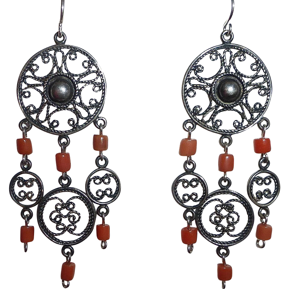 Ethnic Coral & Sterling Filigree Chandelier Earrings