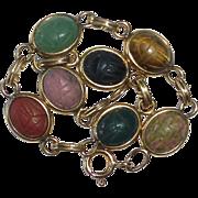 Egyptian Revival Gold Filled Semi Precious Stone Scarab Beetle Bracelet