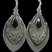 Sterling Ethnic Earrings Black Onyx & Granulated Design