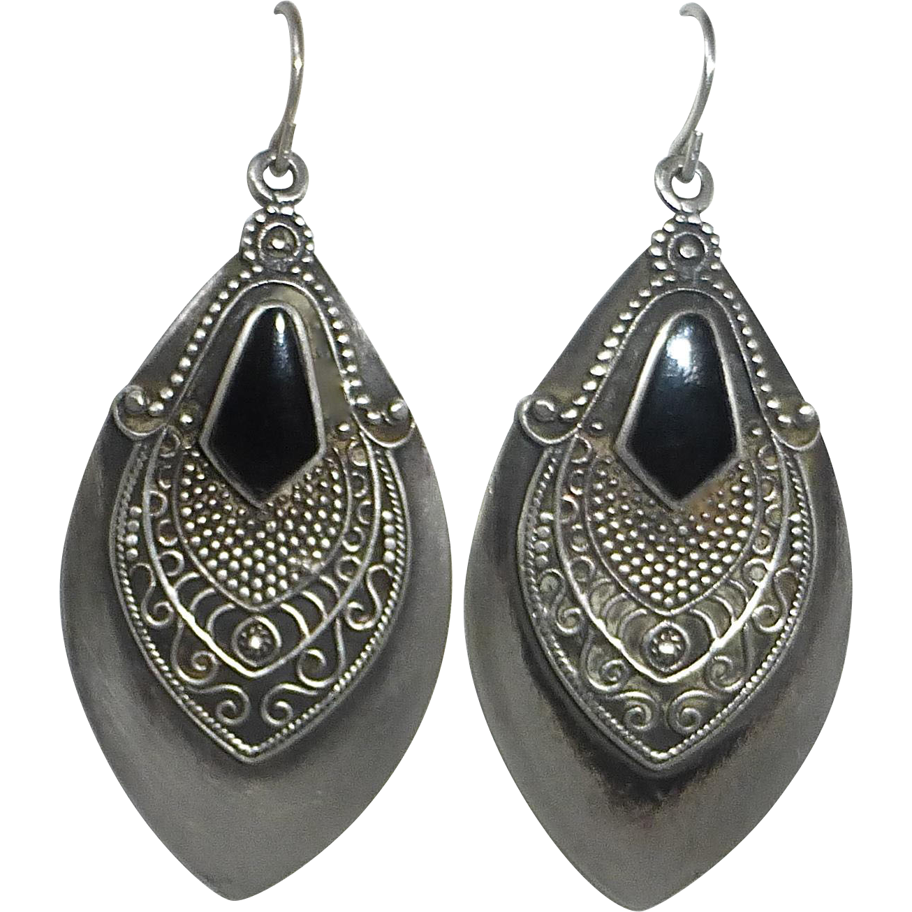 Sterling Ethnic Earrings Black Onyx & Granulated Design