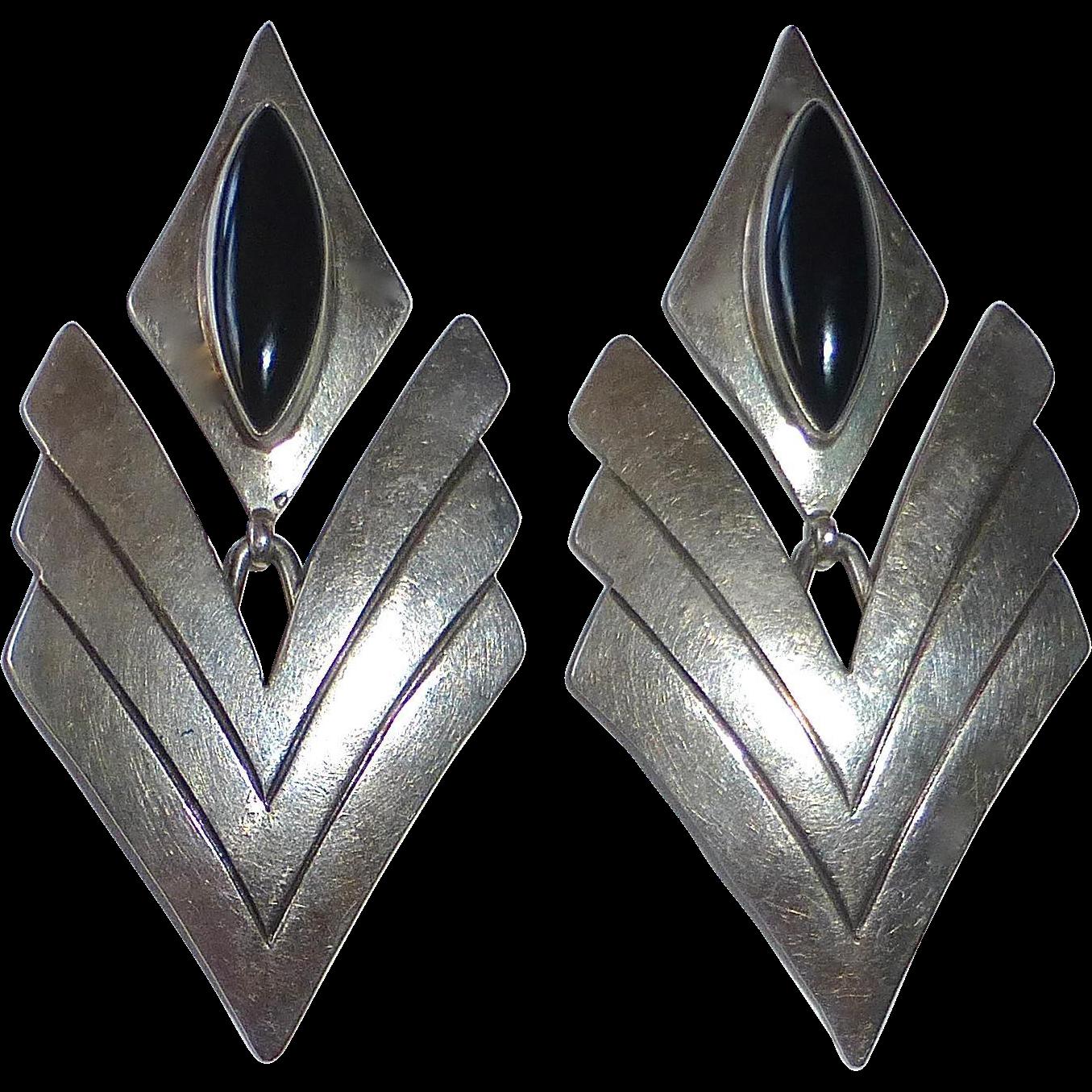Sterling & Black Onyx Drop Earrings