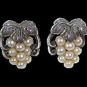 Sterling & Cultured Pearl Grapes Motif Earrings