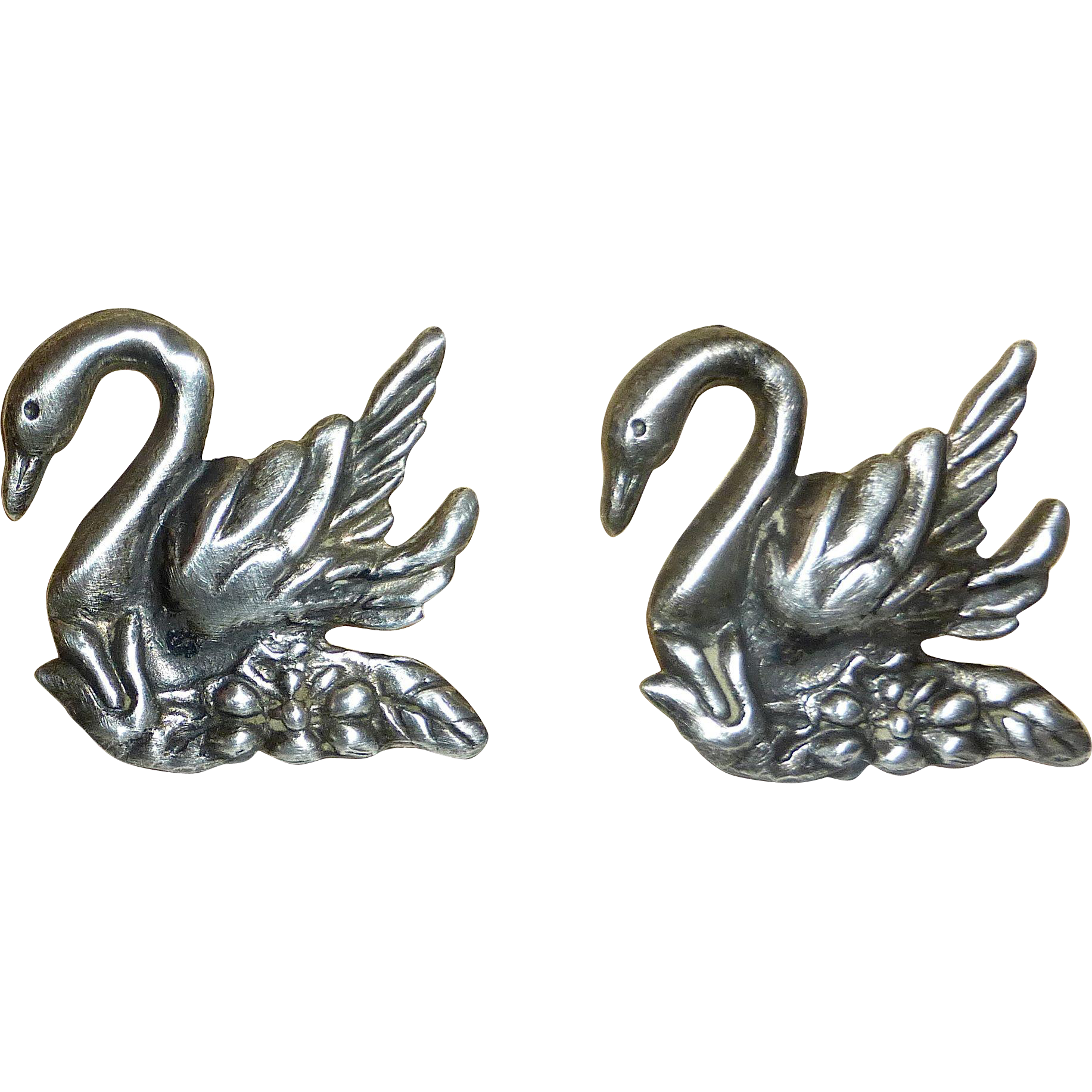 Sterling Silver Repousse Swan Earrings