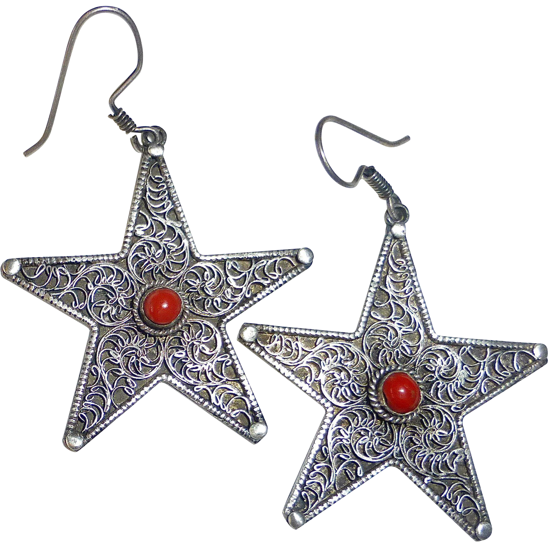 Sterling Silver Star Earrings Filigree & Coral