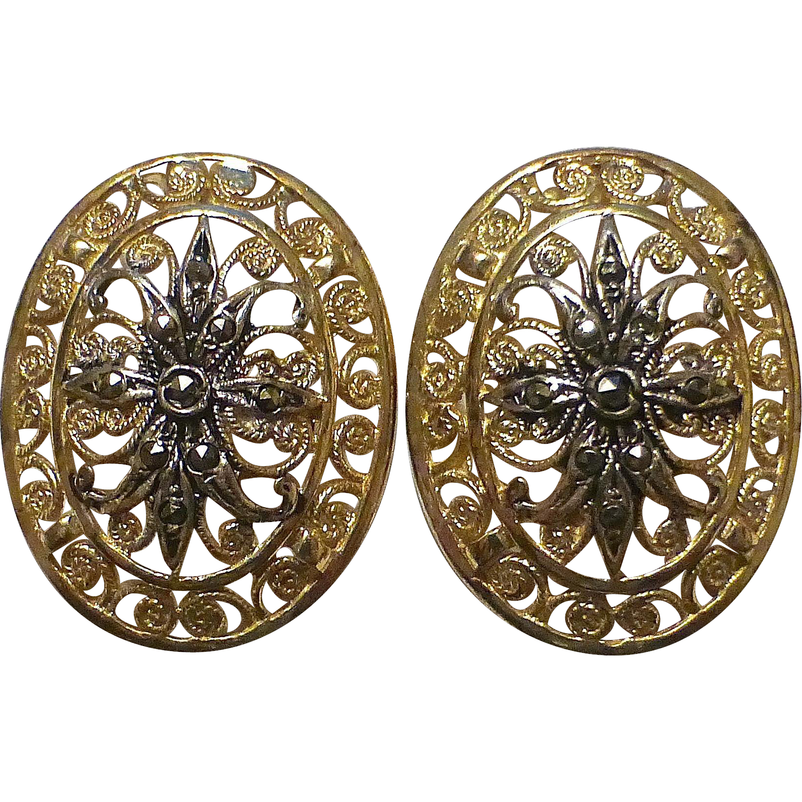 Alice Caviness Sterling & Vermeil Filigree Earrings