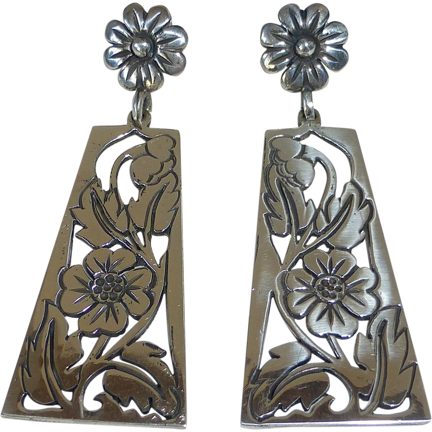 Mexican Sterling Pierced Long Floral Drop Earrings