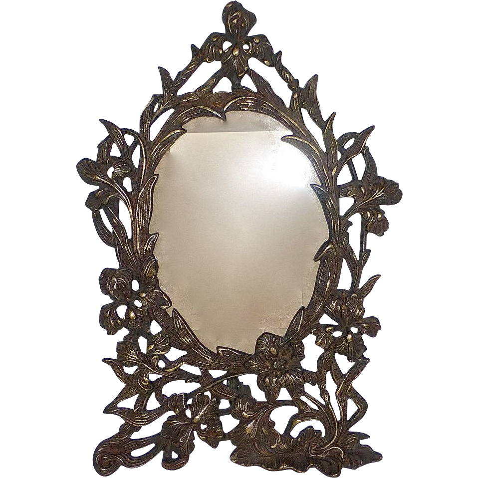 Art Nouveau Ornate Brass Floral Iris Design Picture Frame