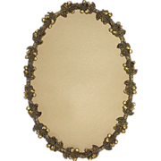 Art Nouveau Hibiscus Gilt Brass Oval Picture Frame