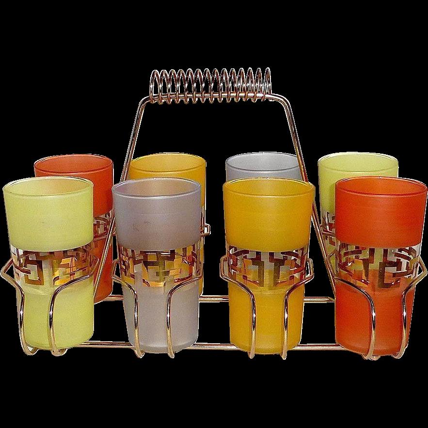 Set of 8 Mid-Century Modern Gold-Trim Drinking Glasses