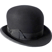 Black Fine Felted Wool Derby Bowler Hat
