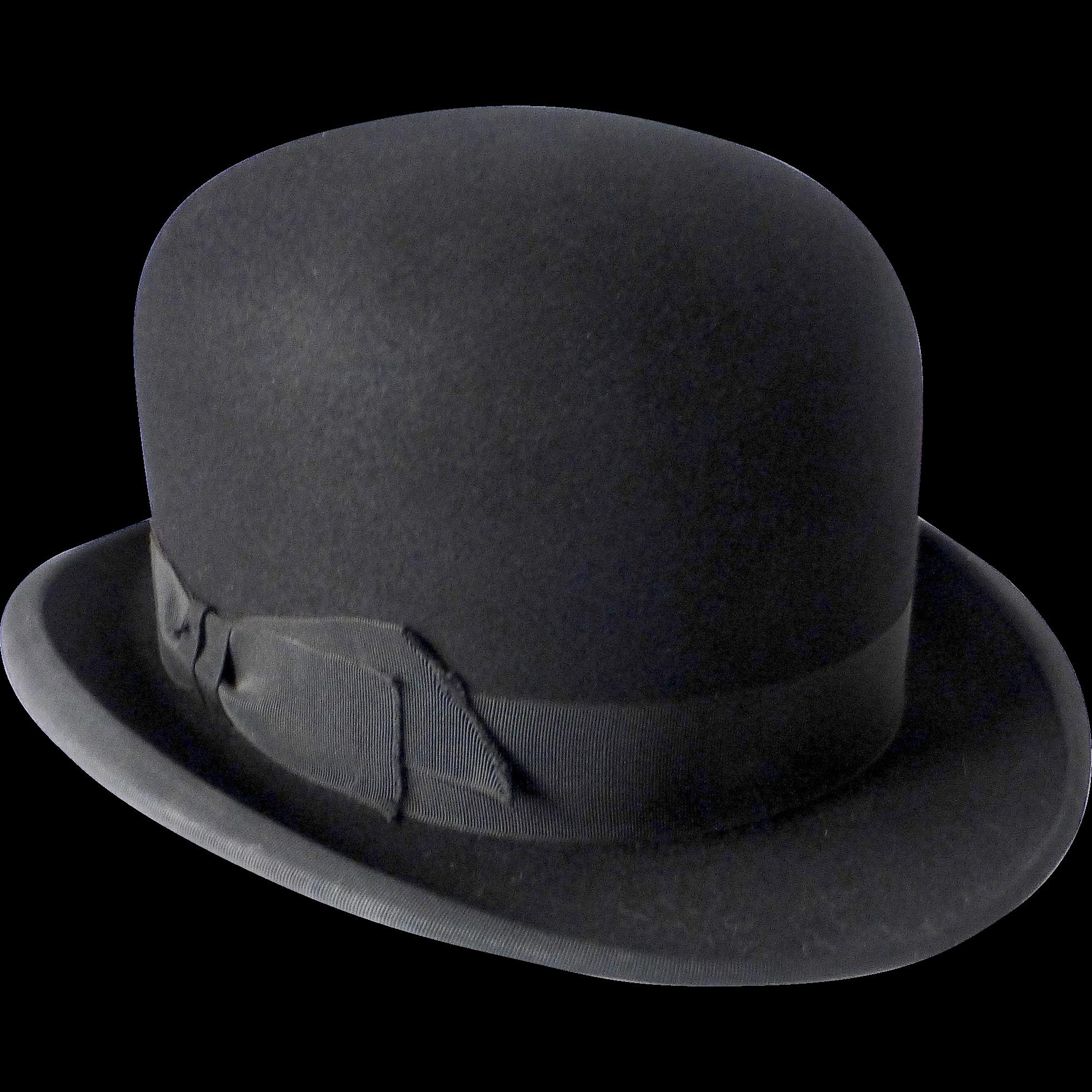 Black Fine Felted Wool Derby Bowler Hat