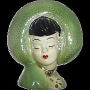 Ceramic Head Vase Wall Pocket Pretty Girl in Wide Brim Hat