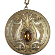 Art Deco/Art Nouveau Gold Filled Extra Large Locket Citrine Glass Cab